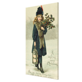 Young girl with Holly and Lantern Canvas Print