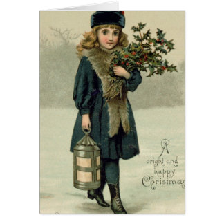Young girl with Holly and Lantern Card