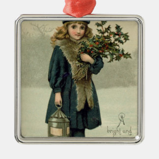 Young girl with Holly and Lantern Christmas Ornament