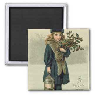 Young girl with Holly and Lantern Magnet