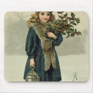 Young girl with Holly and Lantern Mouse Mat