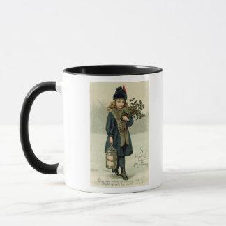 Young girl with Holly and Lantern Mug