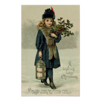 Young girl with Holly and Lantern Poster