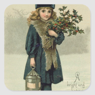Young girl with Holly and Lantern Square Sticker