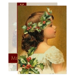 Young Girl with Holly Vintage Customized Christmas Card