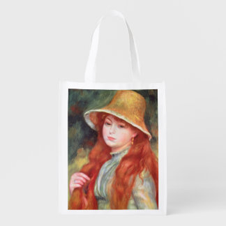 Young girl with long hair grocery bags