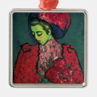 Young Girl with Peonies Silver-Colored Square Decoration