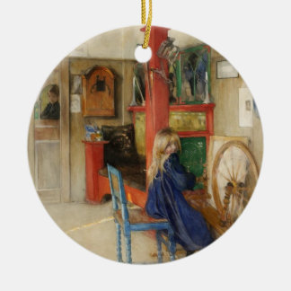 Young Girl with Spinning Wheel - Carl Larsson Round Ceramic Decoration