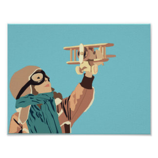 Young Girl with Wooden Plane Poster