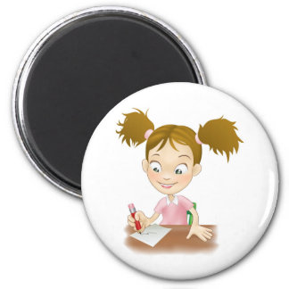 Young girl writing at her desk magnet