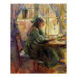 Young girl writing by Berthe Morisot Print