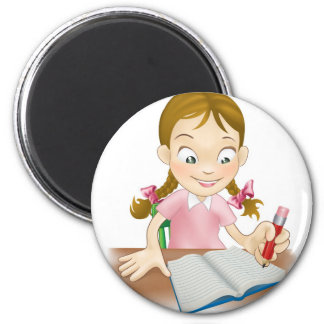 Young girl writing in a book magnets