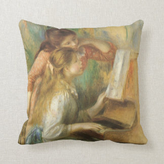 Young Girls at Piano by Pierre Renoir Cushion