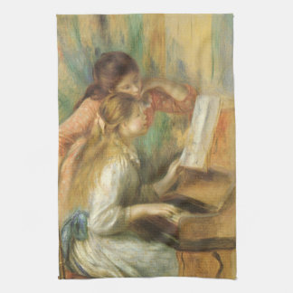 Young Girls at Piano by Pierre Renoir Tea Towel