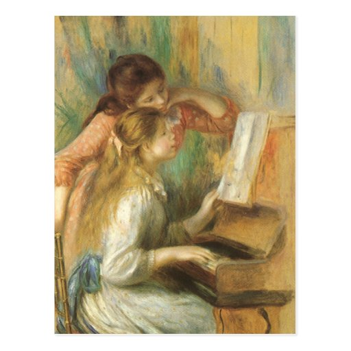 Young Girls at Piano by Renoir, Vintage Fine Art Post Cards