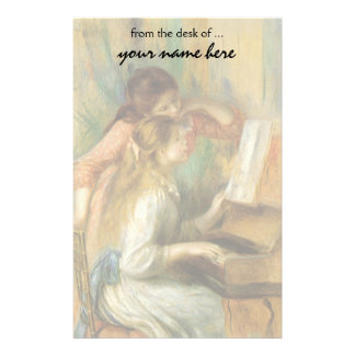 Young Girls at Piano by Renoir, Vintage Fine Art Custom Stationery