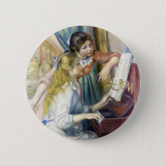Young Girls at the Piano by Pierre Renoir 6 Cm Round Badge