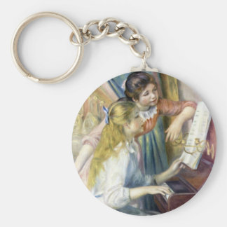 Young Girls at the Piano by Pierre Renoir Basic Round Button Key Ring