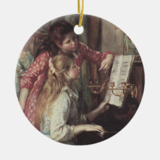 Young Girls at the Piano by Pierre Renoir Round Ceramic Decoration