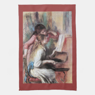 Young girls at the piano by Pierre Renoir Towel
