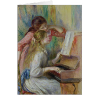 Young Girls at the Piano, c.1890 Greeting Card