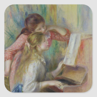 Young Girls at the Piano, c.1890 Square Sticker