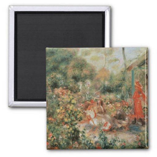 Young Girls in a Garden - Pierre Auguste Renoir Refrigerator Magnet