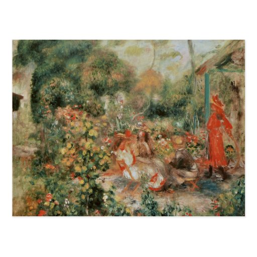 Young Girls in a Garden - Pierre Auguste Renoir Post Cards