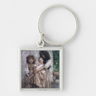 Young girls of Ischia Silver-Colored Square Key Ring