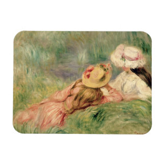 Young Girls on the River Bank (oil on canvas) Vinyl Magnets
