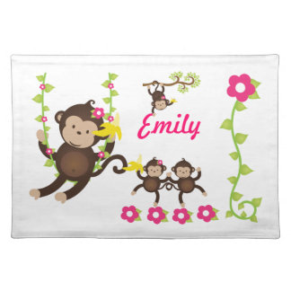Young girls' Personalized Monkey Placemat