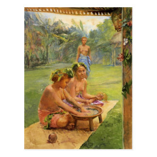 Young Girls Preparing Kava - Postcard