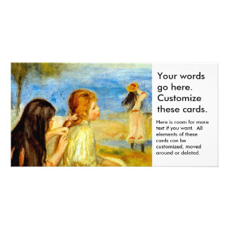 Young girls seaside beautiful Renoir painting art Personalized Photo Card
