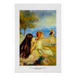 Young girls seaside beautiful Renoir painting art Poster