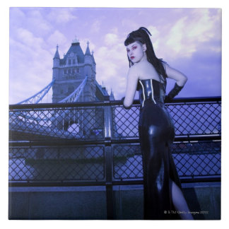 Young Goth woman at Tower Bridge, London Large Square Tile