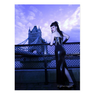 Young Goth woman at Tower Bridge London Postcards