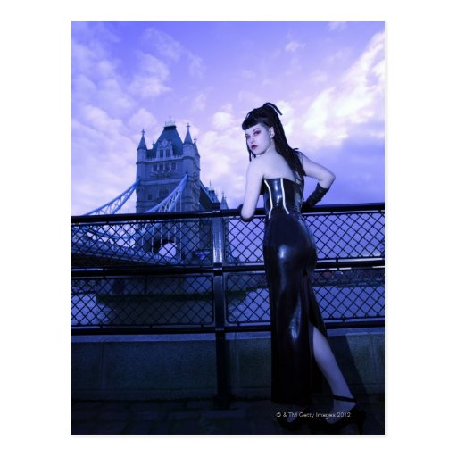 Young Goth woman at Tower Bridge, London Postcards