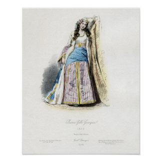 Young Greek Girl Traditional Costum Poster