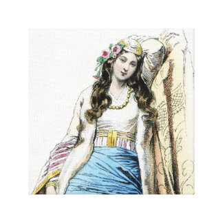 Young Greek Girl Traditional Costume Stretched Canvas Print