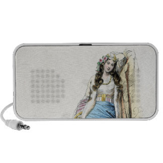 Young Greek Girl Traditional Costume Travel Speakers