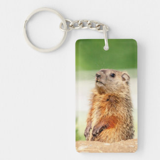Young Groundhog Double-Sided Rectangular Acrylic Key Ring