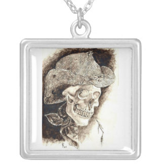 Young Guns Skull Square Pendant Necklace