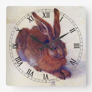Young Hare by Albrecht Durer, Renaissance Fine Art Square Wall Clock