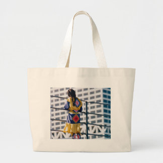 Young Indian Girl & Skyscraper Canvas Bag