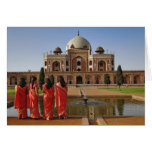 Young Indian ladies and Humayun's Tomb, Delhi, Greeting Card