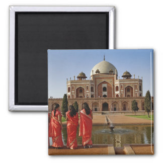 Young Indian ladies and Humayun's Tomb, Delhi, Square Magnet