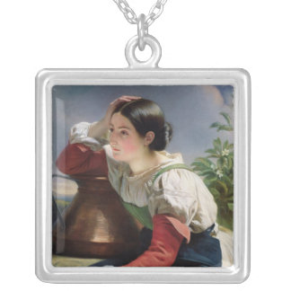 Young Italian at the Well, c.1833-34 Silver Plated Necklace