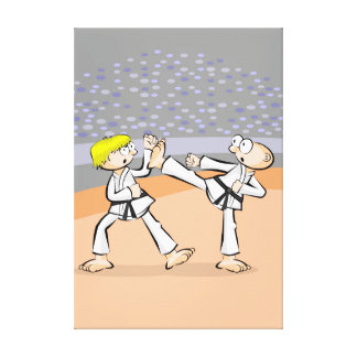 Young karate in the heat of battle of force canvas print