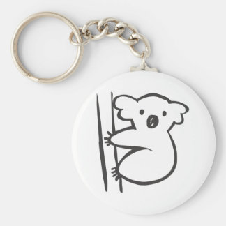Young Koala in a Tree in Black and White Sketch Basic Round Button Key Ring