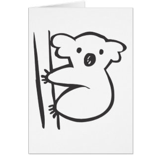 Young Koala in a Tree in Black and White Sketch Card
